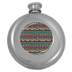 Aztec Pattern Cool Colors Round Hip Flask (5 oz)