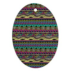 Aztec Pattern Cool Colors Oval Ornament (two Sides)