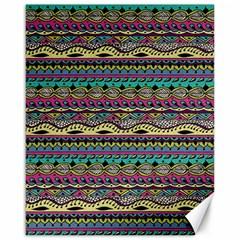 Aztec Pattern Cool Colors Canvas 16  X 20