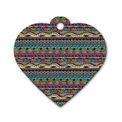 Aztec Pattern Cool Colors Dog Tag Heart (two Sides)