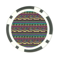 Aztec Pattern Cool Colors Poker Chip Card Guard