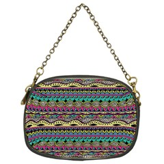 Aztec Pattern Cool Colors Chain Purses (two Sides)