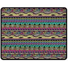 Aztec Pattern Cool Colors Fleece Blanket (Medium)