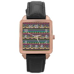 Aztec Pattern Cool Colors Rose Gold Leather Watch