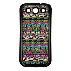 Aztec Pattern Cool Colors Samsung Galaxy S3 Back Case (Black)