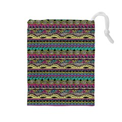 Aztec Pattern Cool Colors Drawstring Pouches (large)