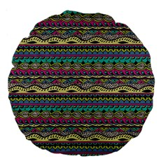 Aztec Pattern Cool Colors Large 18  Premium Flano Round Cushions