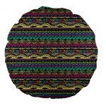 Aztec Pattern Cool Colors Large 18  Premium Flano Round Cushions Back