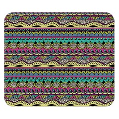 Aztec Pattern Cool Colors Double Sided Flano Blanket (small)