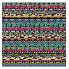 Aztec Pattern Cool Colors Large Satin Scarf (Square)