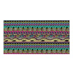 Aztec Pattern Cool Colors Satin Shawl