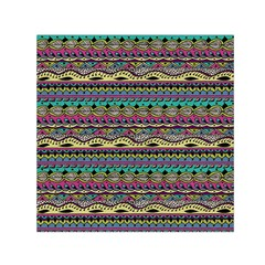 Aztec Pattern Cool Colors Small Satin Scarf (Square)