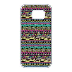 Aztec Pattern Cool Colors Samsung Galaxy S7 Edge White Seamless Case
