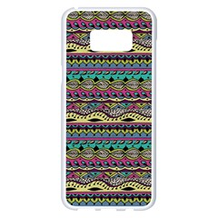 Aztec Pattern Cool Colors Samsung Galaxy S8 Plus White Seamless Case