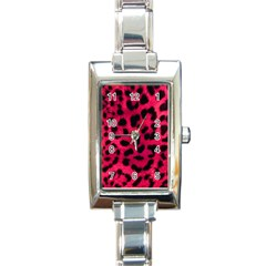 Leopard Skin Rectangle Italian Charm Watch
