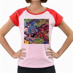 Pixel Art City Women s Cap Sleeve T-Shirt