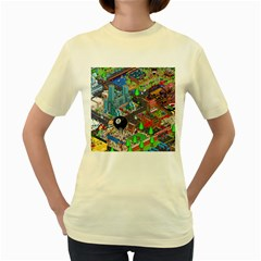 Pixel Art City Women s Yellow T-Shirt