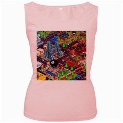 Pixel Art City Women s Pink Tank Top