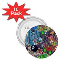 Pixel Art City 1.75  Buttons (10 pack)
