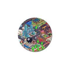 Pixel Art City Golf Ball Marker