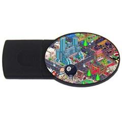 Pixel Art City USB Flash Drive Oval (1 GB)