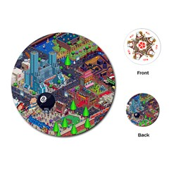 Pixel Art City Playing Cards (round)