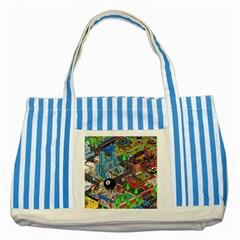 Pixel Art City Striped Blue Tote Bag