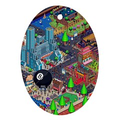 Pixel Art City Oval Ornament (two Sides)