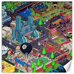 Pixel Art City Canvas 16  X 16