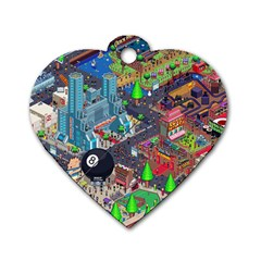 Pixel Art City Dog Tag Heart (Two Sides)