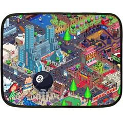 Pixel Art City Double Sided Fleece Blanket (mini)