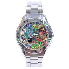 Pixel Art City Stainless Steel Analogue Watch