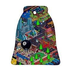 Pixel Art City Ornament (bell)