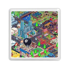 Pixel Art City Memory Card Reader (square)
