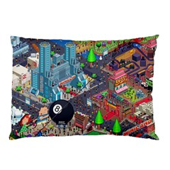 Pixel Art City Pillow Case (two Sides)