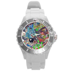 Pixel Art City Round Plastic Sport Watch (L)
