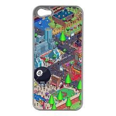 Pixel Art City Apple Iphone 5 Case (silver)
