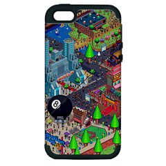 Pixel Art City Apple Iphone 5 Hardshell Case (pc+silicone)