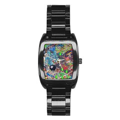 Pixel Art City Stainless Steel Barrel Watch