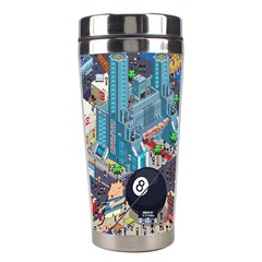 Pixel Art City Stainless Steel Travel Tumblers