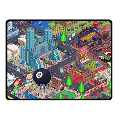 Pixel Art City Double Sided Fleece Blanket (small)