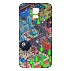 Pixel Art City Samsung Galaxy S5 Back Case (White)