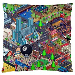 Pixel Art City Standard Flano Cushion Case (Two Sides)