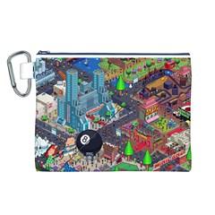 Pixel Art City Canvas Cosmetic Bag (L)