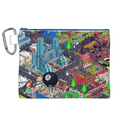 Pixel Art City Canvas Cosmetic Bag (xl)