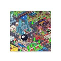 Pixel Art City Satin Bandana Scarf