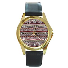 Aztec Pattern Patterns Round Gold Metal Watch