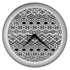 Aztec Design  Pattern Wall Clocks (Silver)