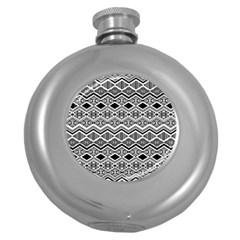 Aztec Design  Pattern Round Hip Flask (5 Oz)