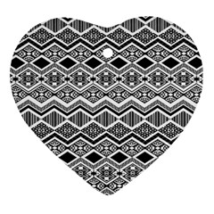 Aztec Design  Pattern Heart Ornament (Two Sides)